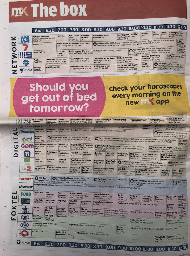 A photo of the TV guide as seen in an mX newspaper