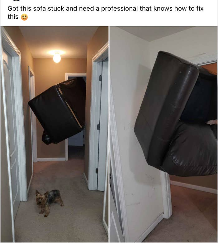 A couch is stuck half in the doorway of a room