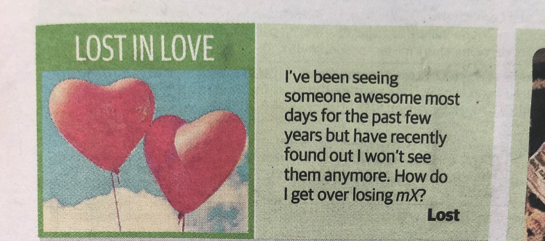 """A closeup of the """"Lost In Love"""" section in mX"""
