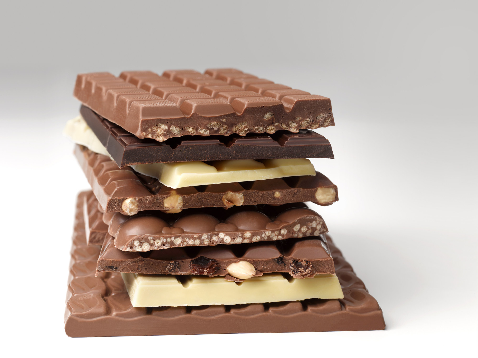 Stack of chocolate bars.