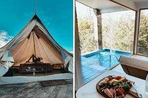 A beautiful  tent with a bright sky behind next to an indoor spa with a cheese and meat platter