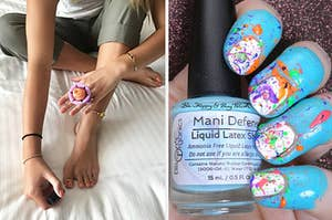 On left, model wears tweexy ring with nail polish inside while painting toenails. On right, hand with blue liquid latex shield with splattered nail art