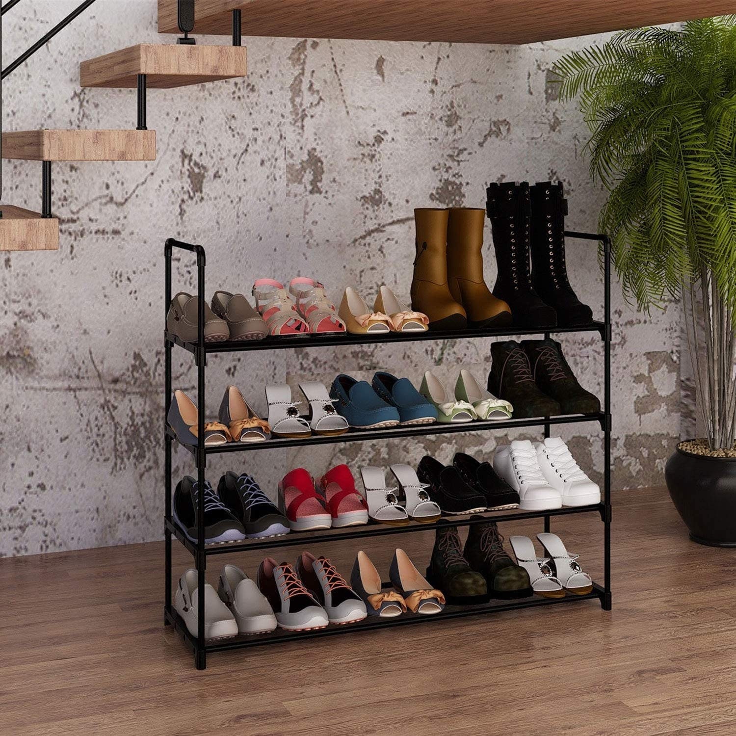 the shoe rack with shoes in it