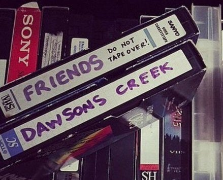 A set of blank tapes with Friends and Dawsons Creek written on them