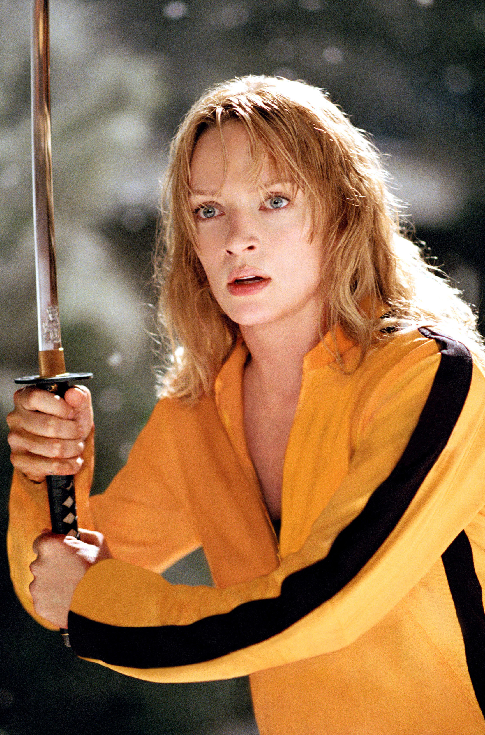 Uma in the film with a sword