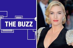 Splitscreen of purple graphic with THE BUZZ in white letters on the left side and a photo of Kate Winslet on the right side (CREDIT: GETTY)