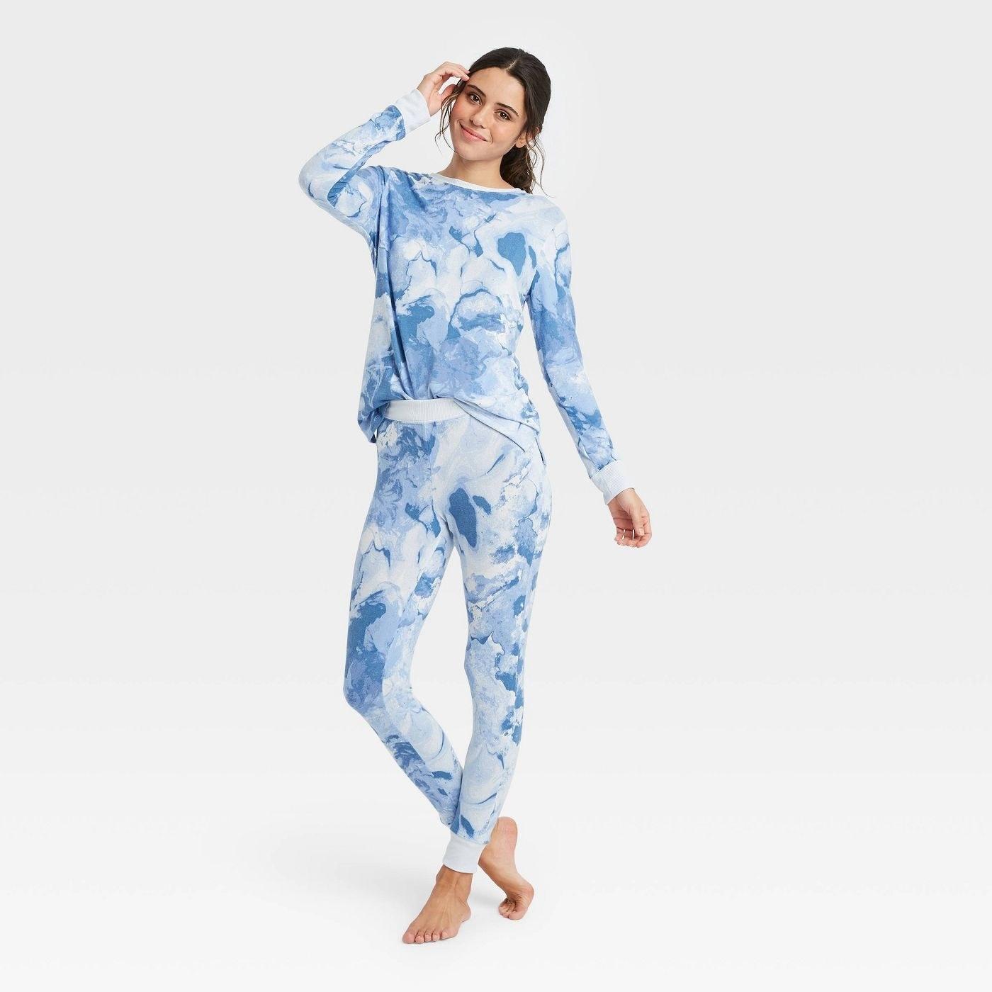 model in tie dye pajama set