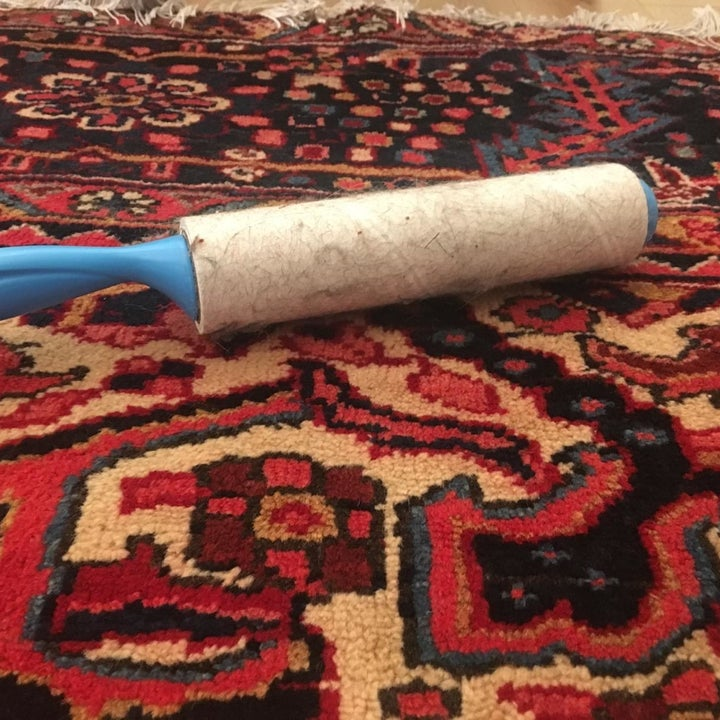 same reviewer showing their rug rid of dog hair after using the large lint roller