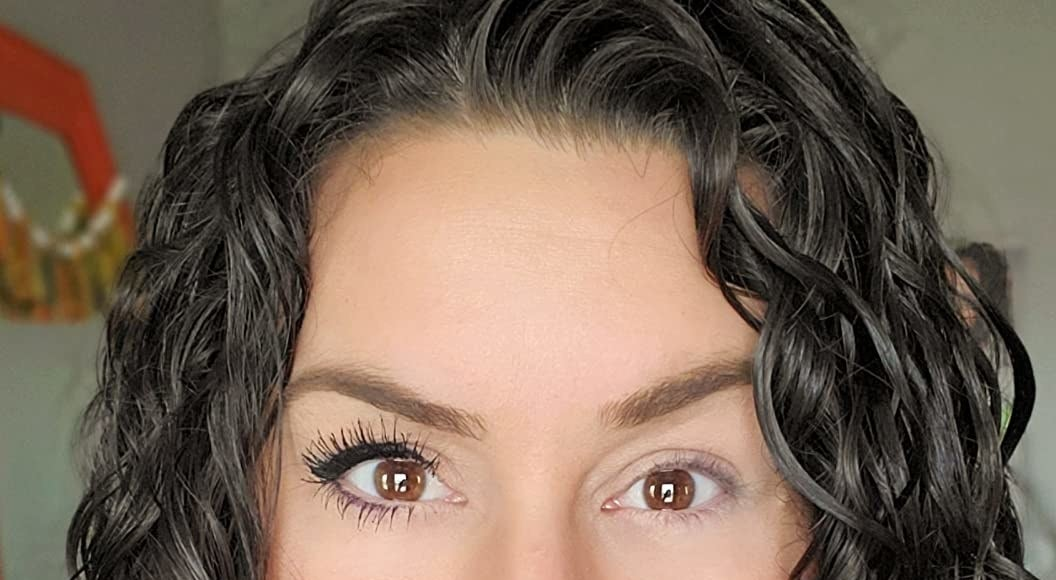 reviewer photo showing one eye with the mascara and the other without