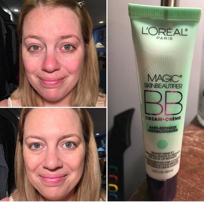 Reviewer photo showing before and after of using L'Oreal Magic Skin Beautifier BB Cream