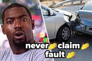 Man with a shocked expression on his face; two cars in a crash