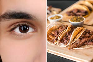 A man with brown eyes is on the left with an assortment of tacos on the right
