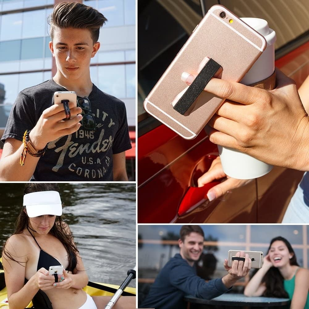 A closeup of a hand with two fingers in the elastic strap on the back of a phone, holding it up; plus several images of models holding their phones too