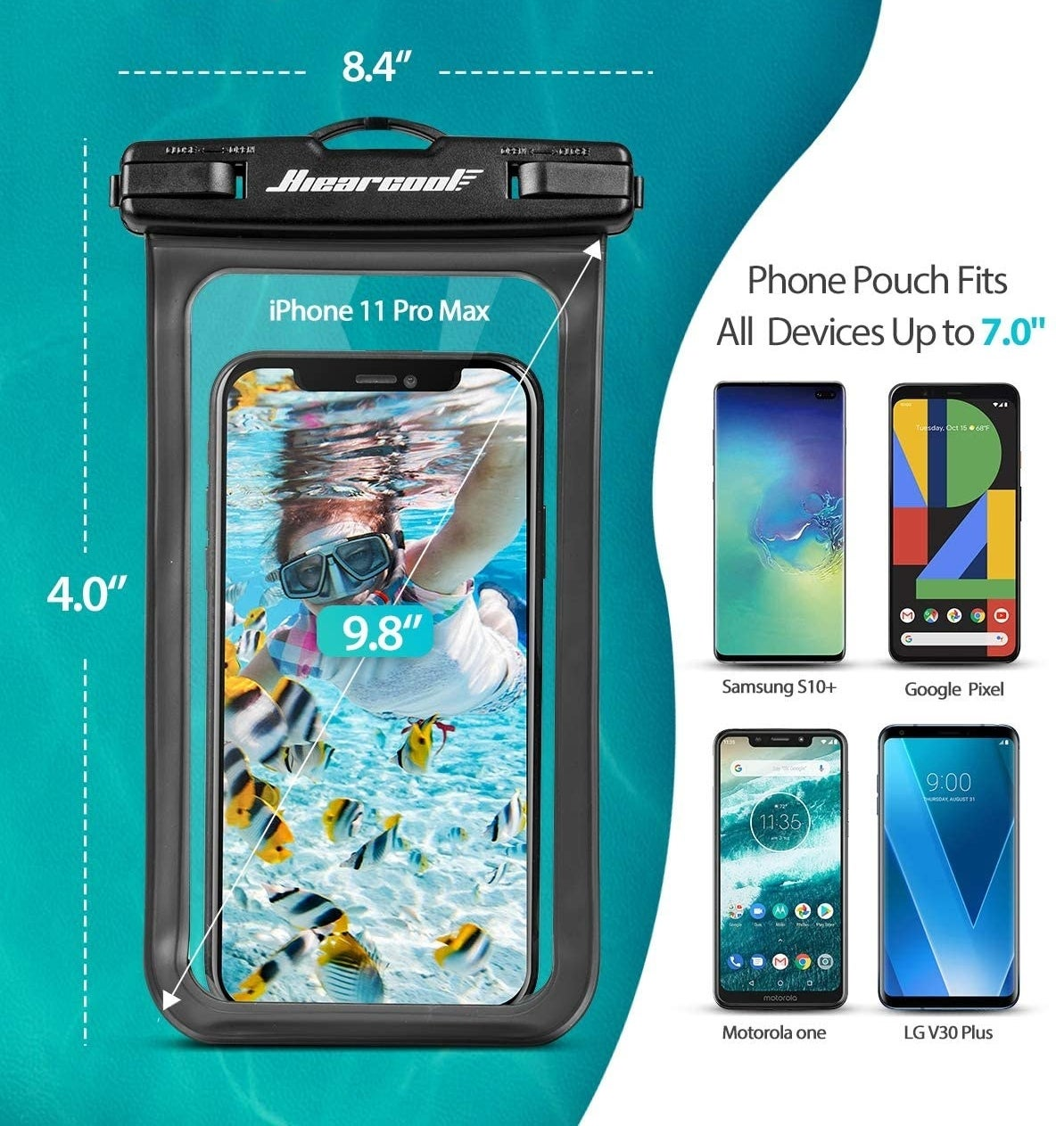 Black edged transparent bag with a phone in side of it showing an underwater image