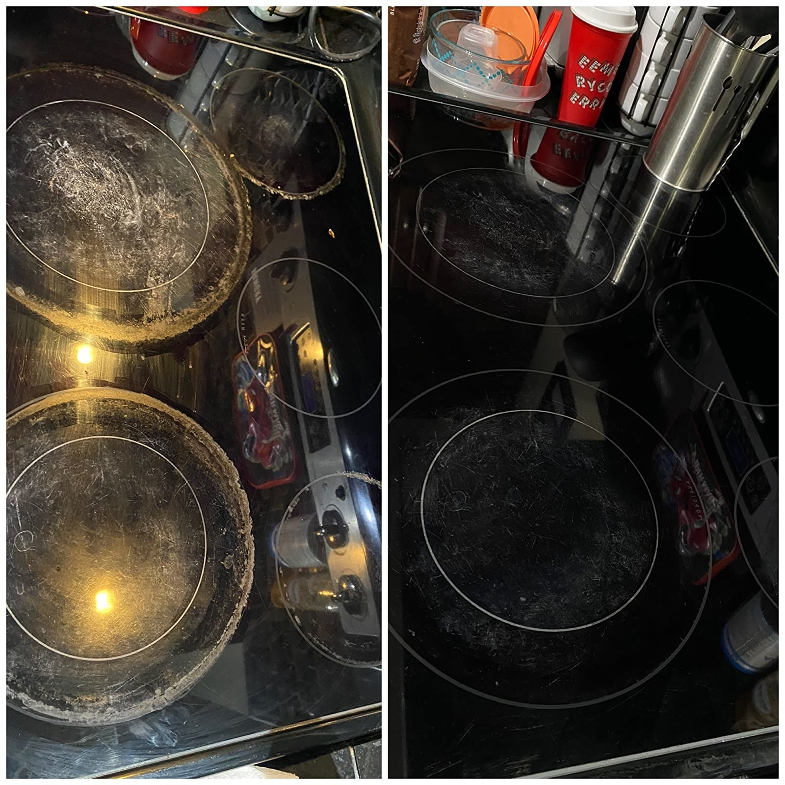 A customer review before and after photo of their stovetop, showing it is completely cleaned after using the cleaning kit