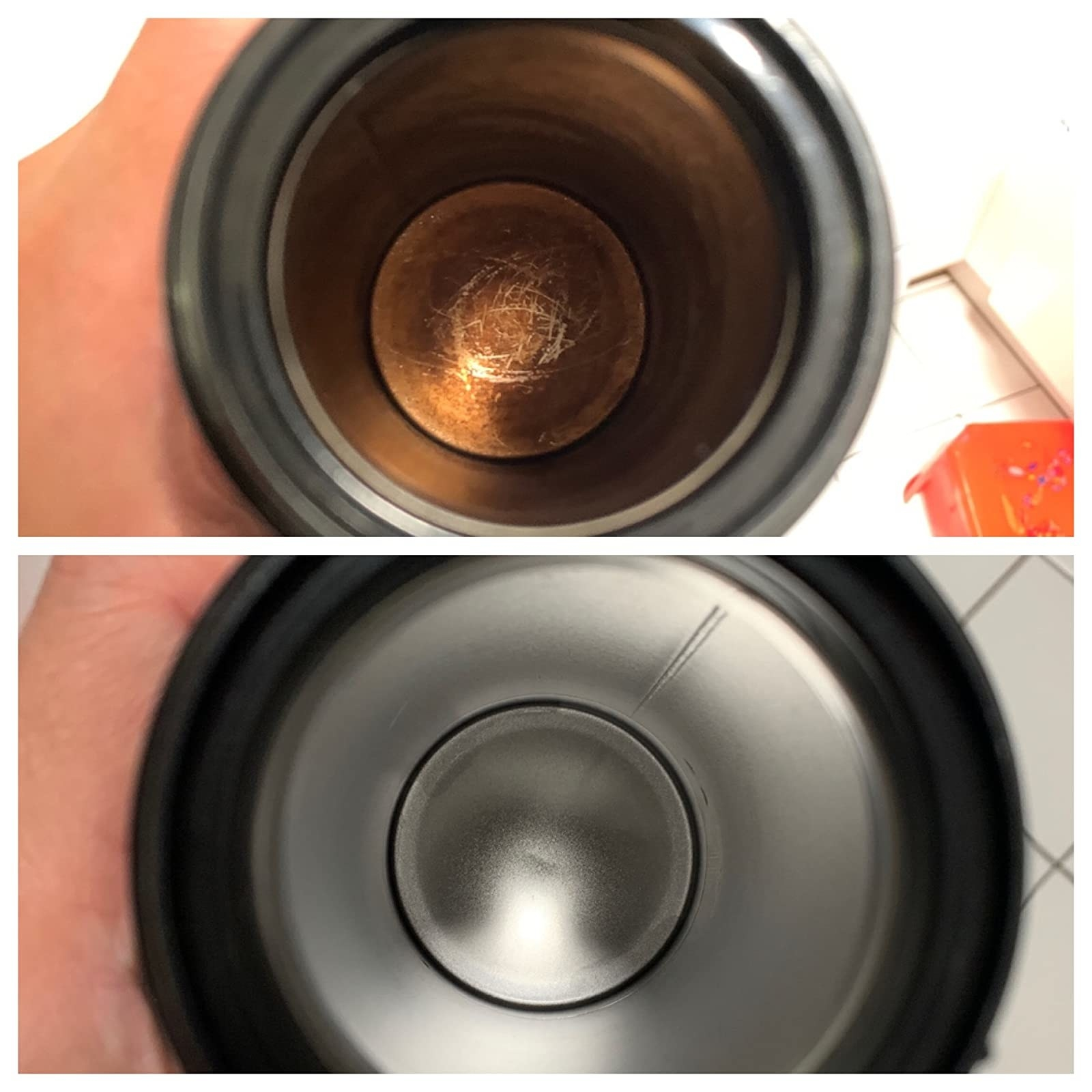before and after photo of reviewer's travel mug, showing it is completely cleaned and restored after using the tablets