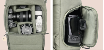 Closeup image showing pockets for camera, lenses, and more