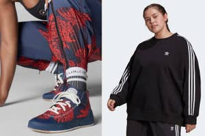 patterned Stella McCartney sneakers and a model wearing a black tracksuit