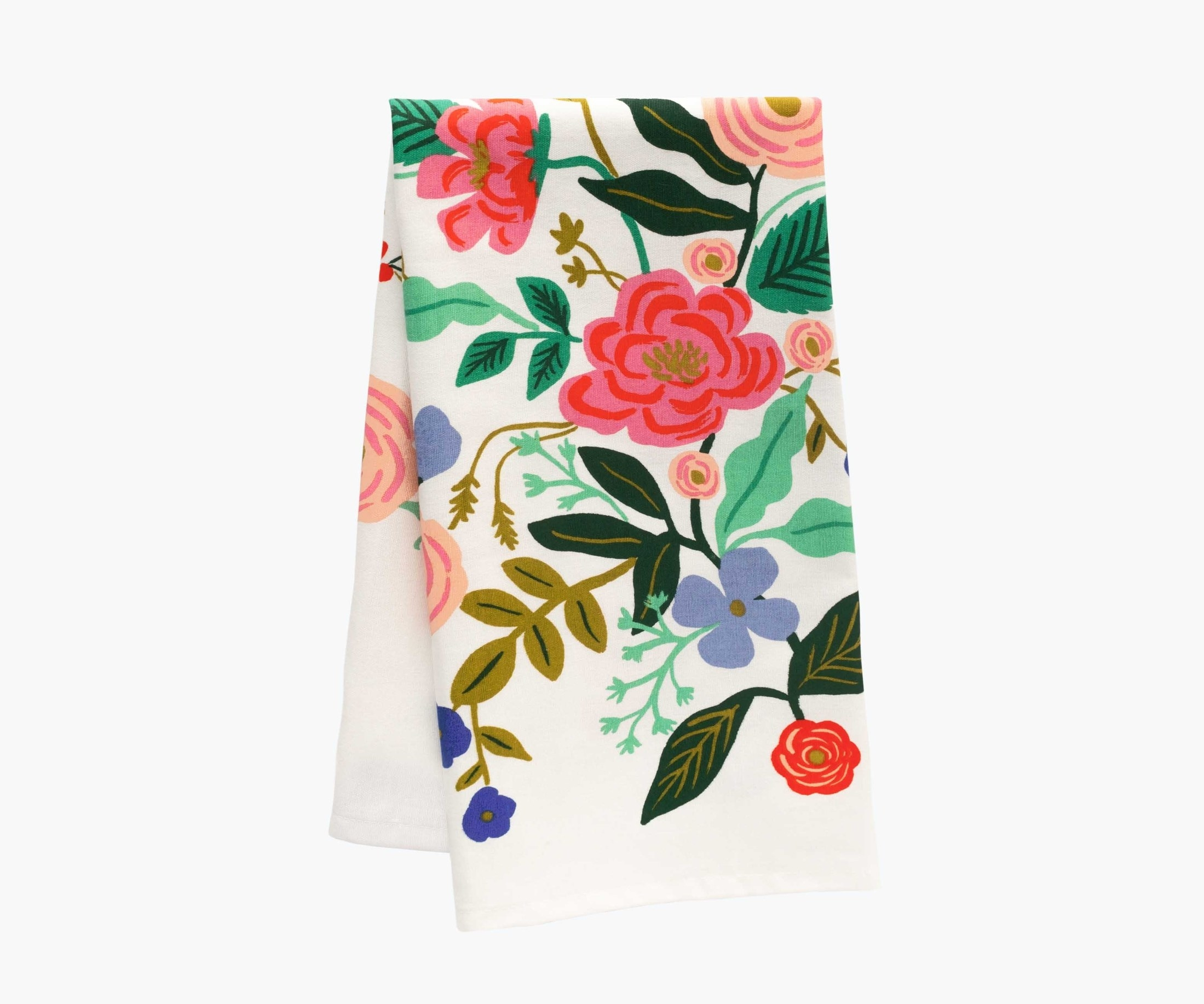 a white tea towel with colorful florals on it