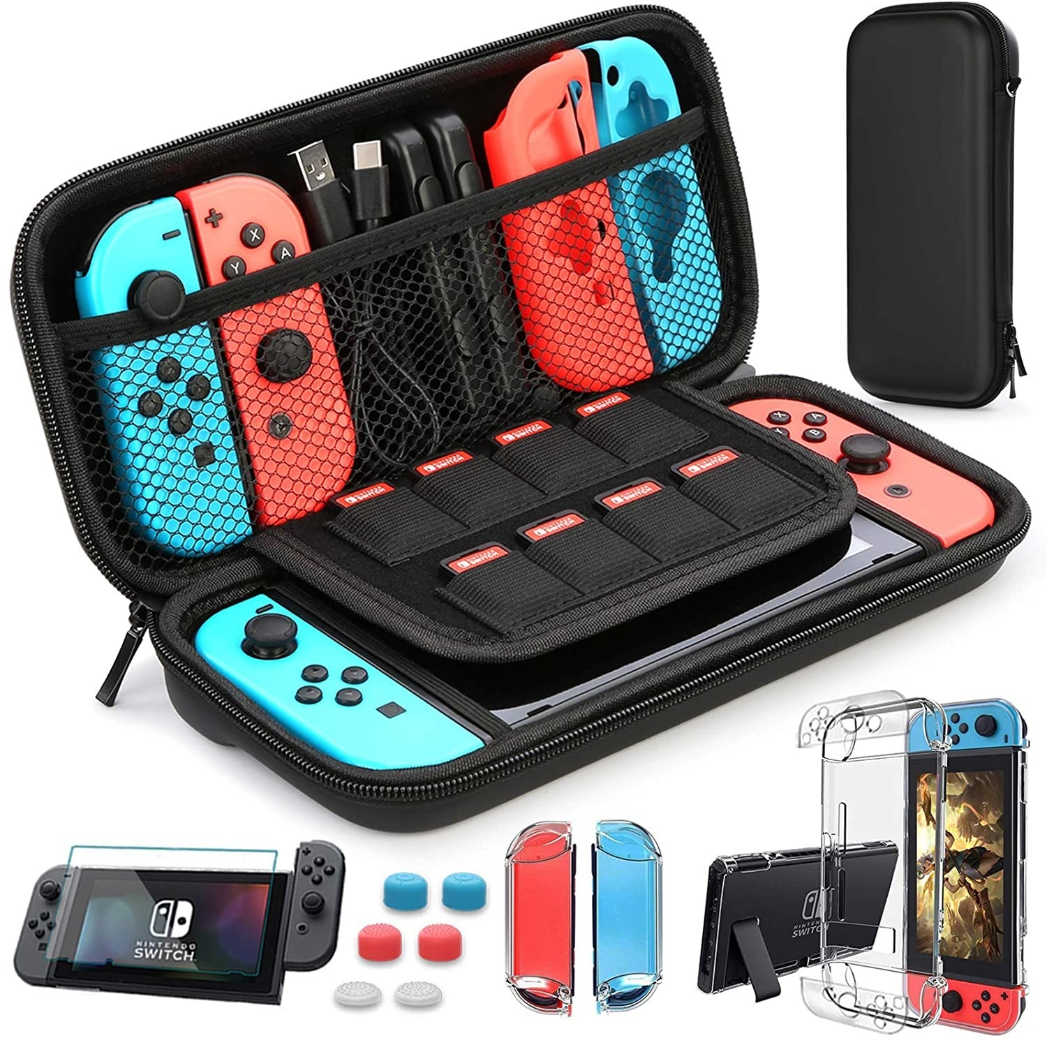 The contents of the bundle laid out with a Switch in the case