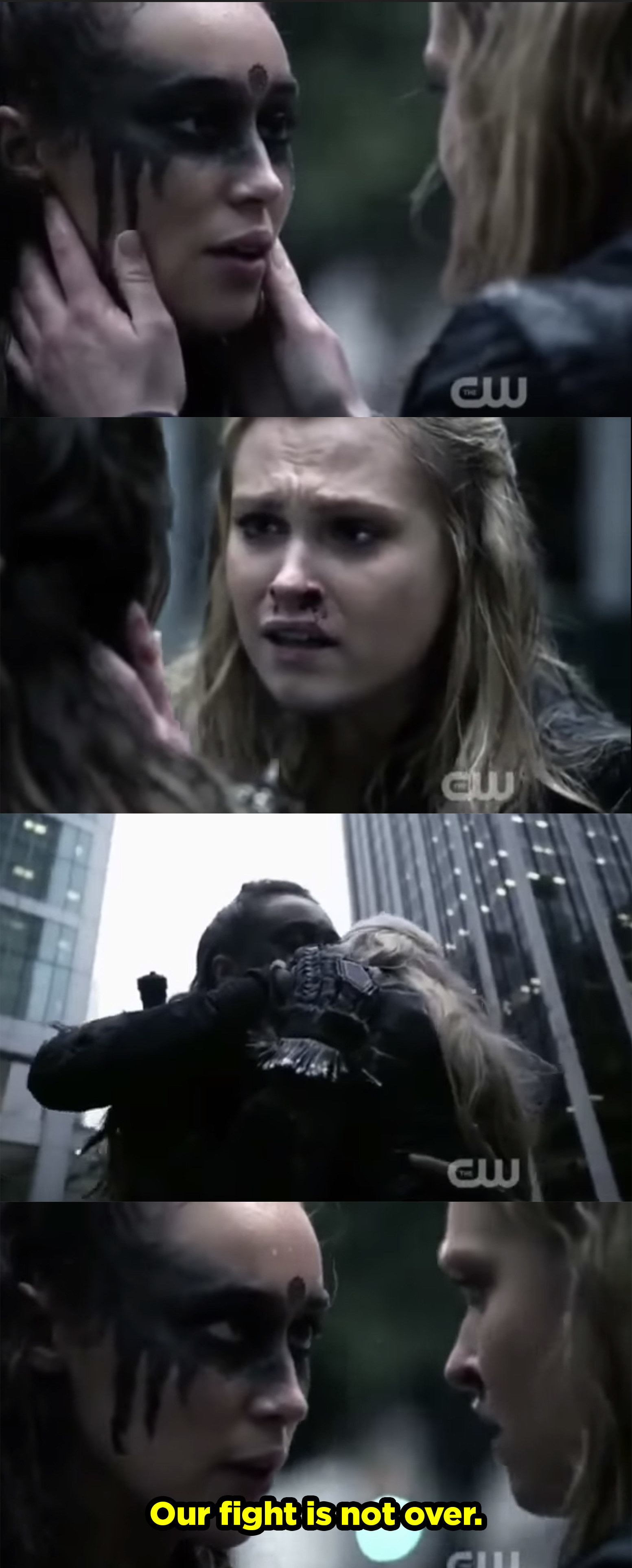 "Lexa saves Clarke and they hug then Lexa says, ""Our fight is not over."""