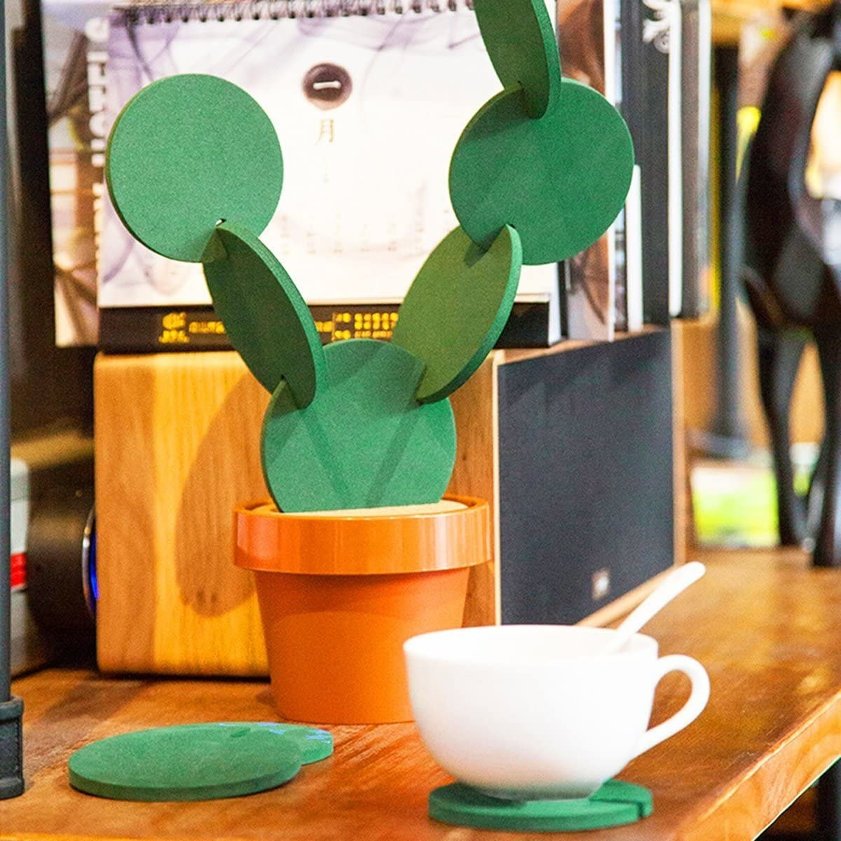 coasters that look like a cactus in a pot