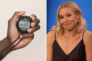 On the left, someone holding up a stopwatch, and on the right, Kristen Bell shrugging