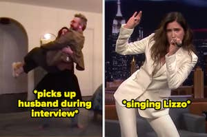 Kathryn Hahn picking her husband up during an interview and singing a Lizzo song in another one