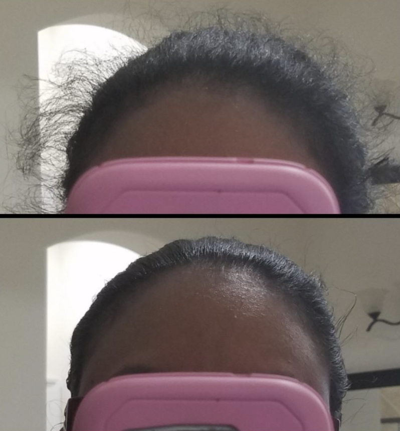 person with hair pulled back and tons of hair wisps, then after with it looking smooth thanks to the product