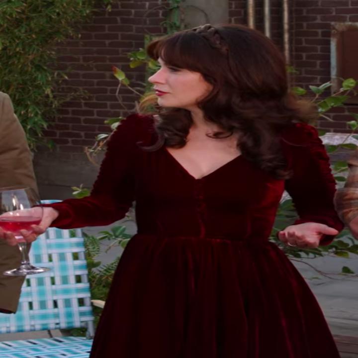 Jess wearing a velvet dress