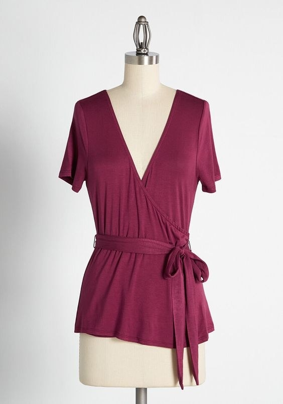 The wrap top in burgundy