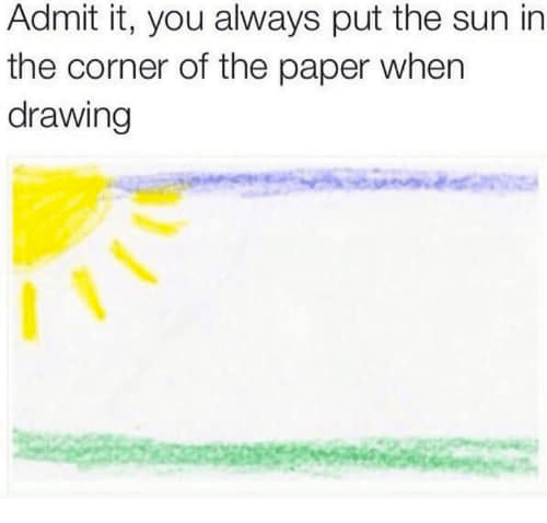 sun drawn in the corner of a page