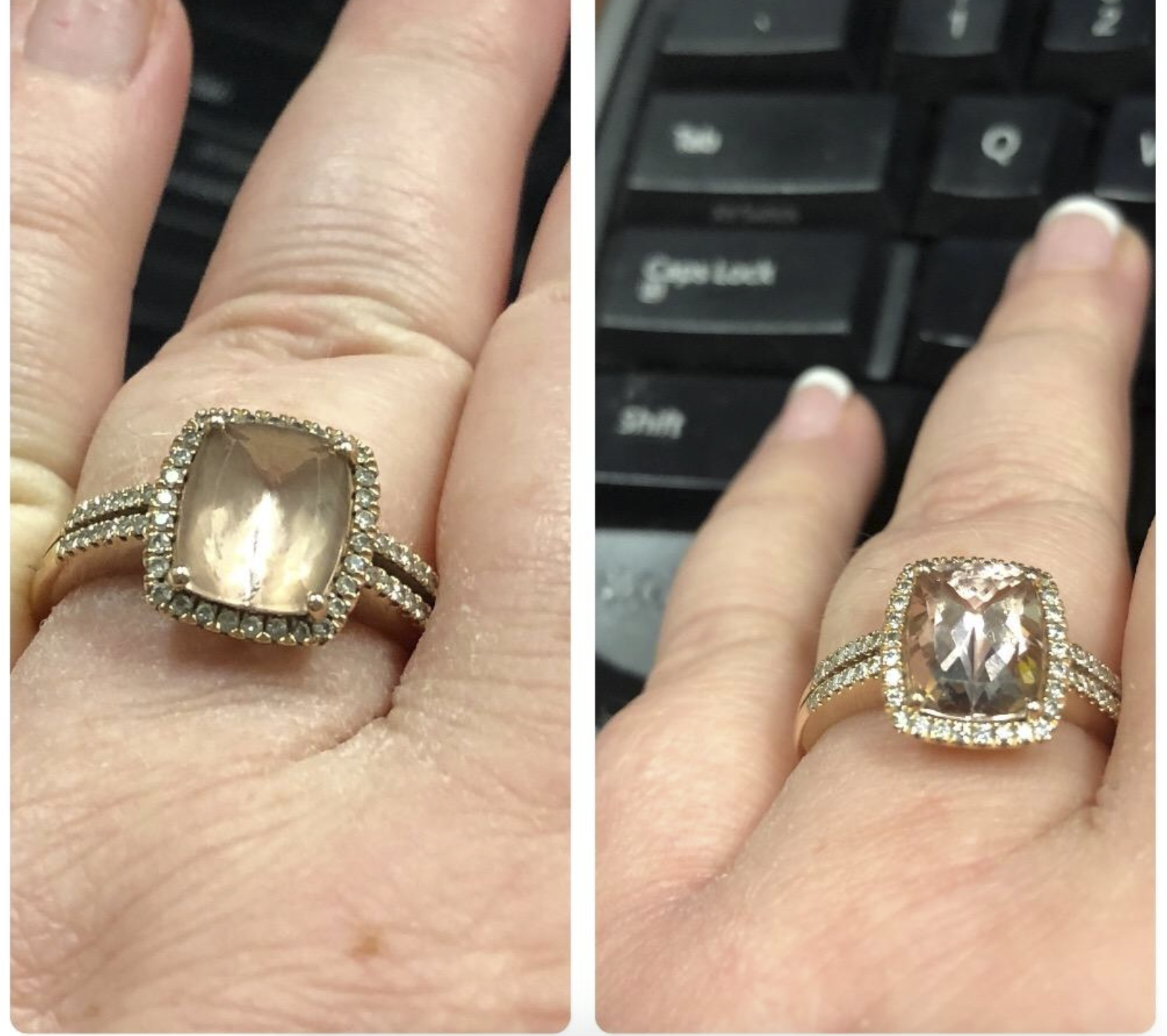 split photo with the left image showing a reviewer's hand with a diamond ring that looks kind of cloudy and the right image showing the same reviewer's ring after a cleaning and now it's looks nearly clear