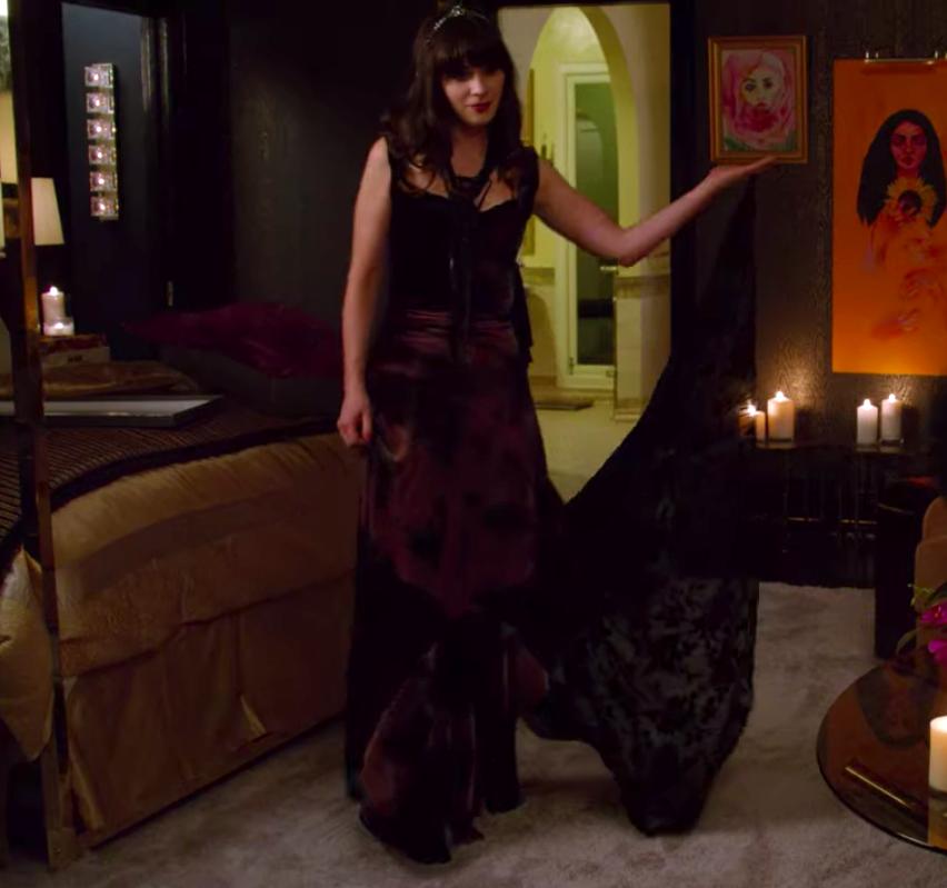 Jess wearing a long dress