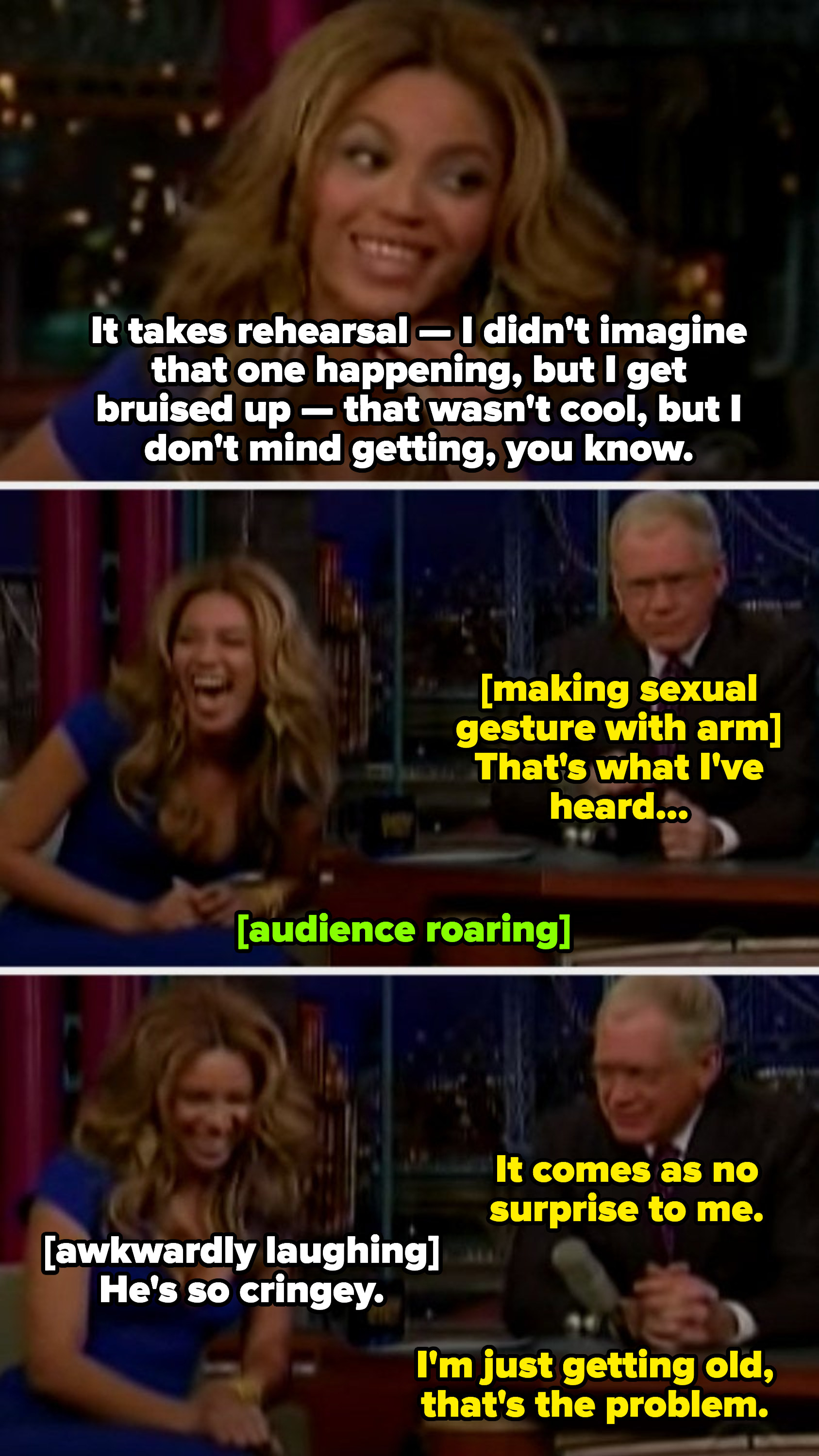 """Letterman telling Beyoncé """"It comes as no surprise to me,"""" making an inappropriate insinuation that she enjoys rough sex"""