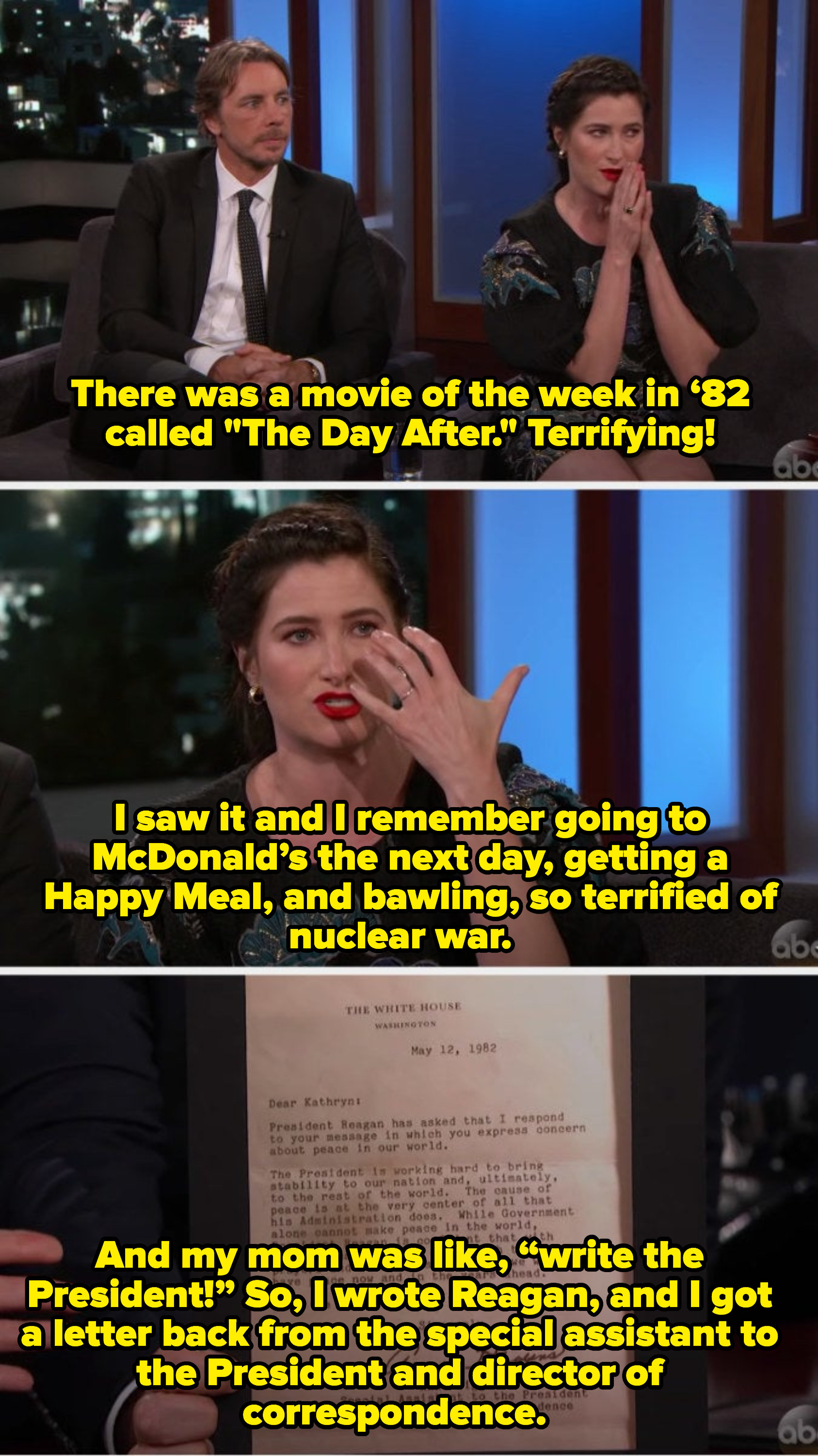"Kathryn wrote a letter to the President about being scared of nuclear war after watching ""The Day After"" and she got a letter back"