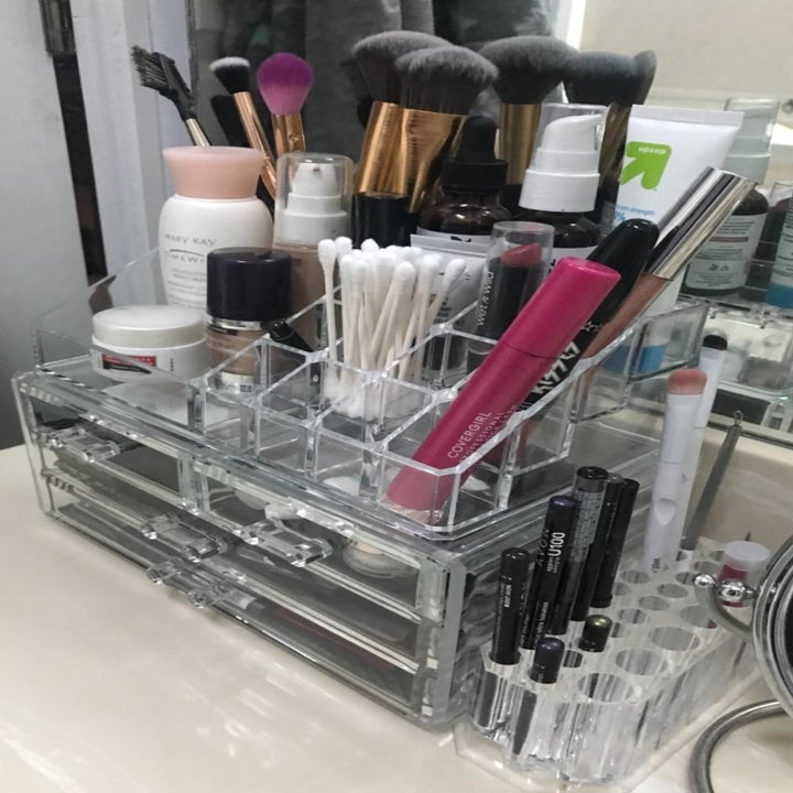 a reviewer's makeup in the acrylic organizer