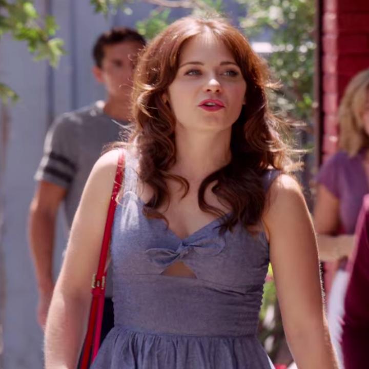 Jess wearing a dress