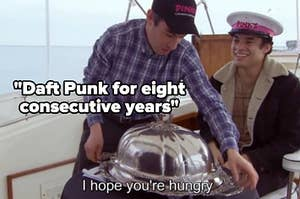 """The nathan for you """"i hope you're hungry"""" meme with the text """"daft punk for eight consecutive years"""""""