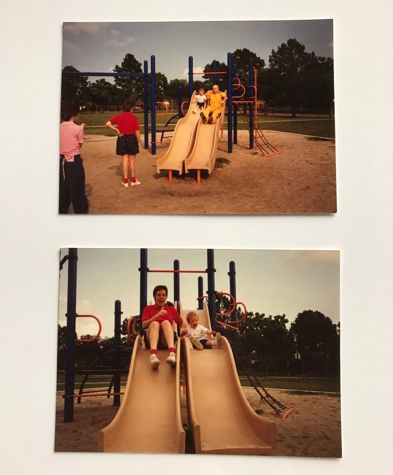 Two photos of a little kid going down park slides with his relatives