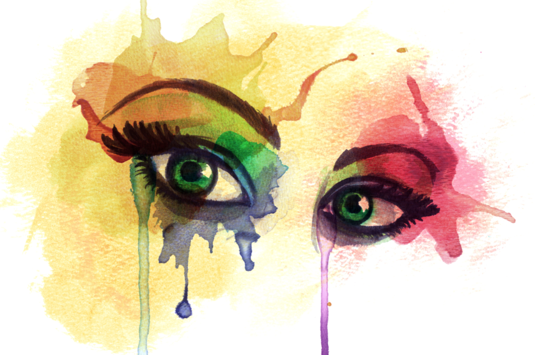 Watercolor eye drawing