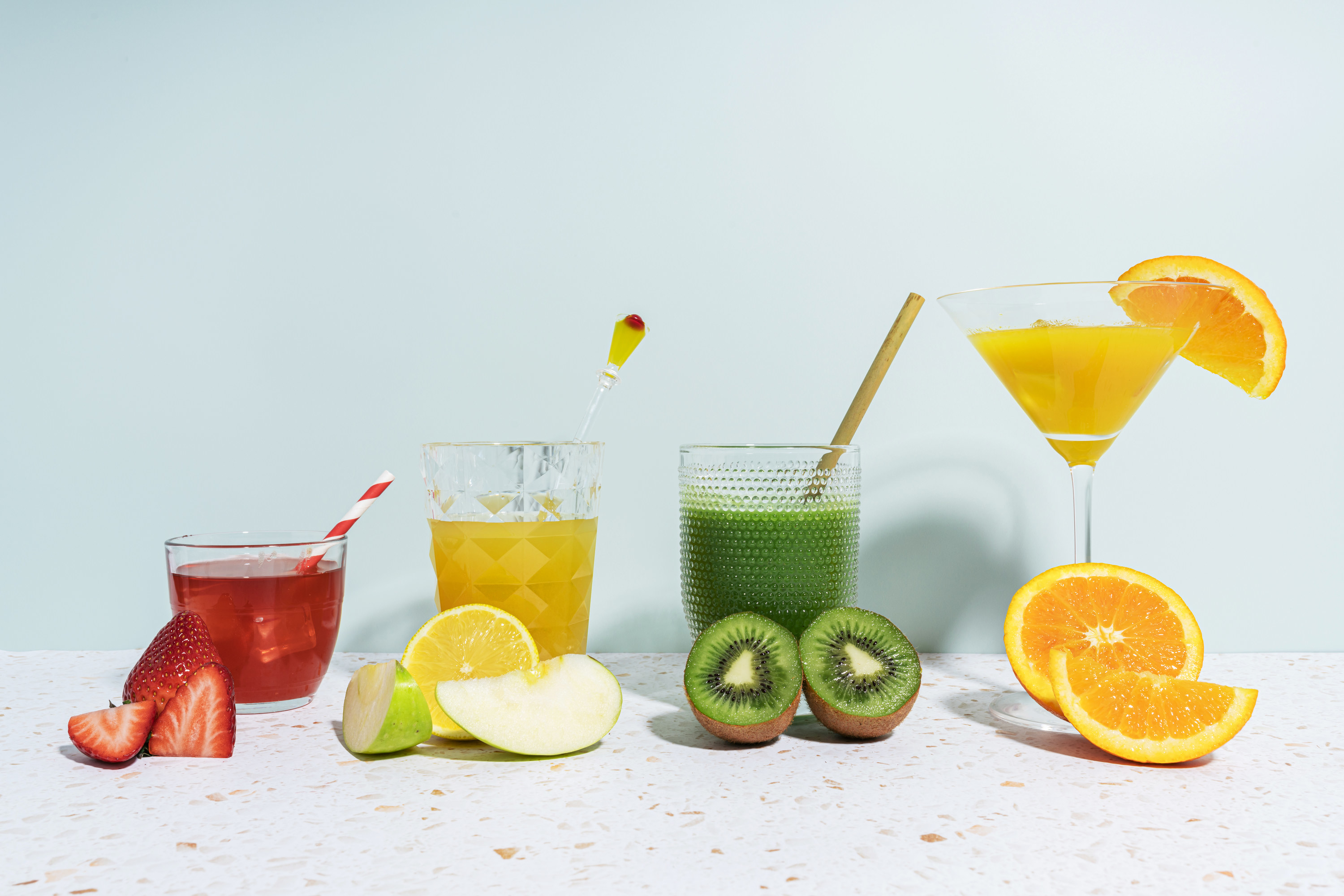 A variety of colorful cocktails