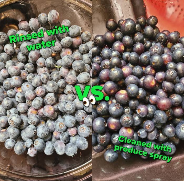 split photo that on 1 side shows a reviewer's blueberries with a white cast on them after being rinsed with water and the second photo shows the blueberries looking their original, rich blue-purple color after being cleansed with the spray