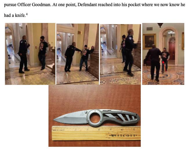 Images on a court document show a man confronting a police officer and a pocket knife next to a ruler