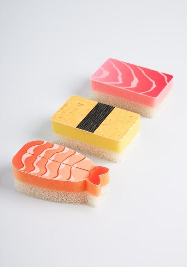 three sashimi and roll-themed sponges