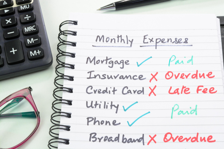 A list of monthly bills