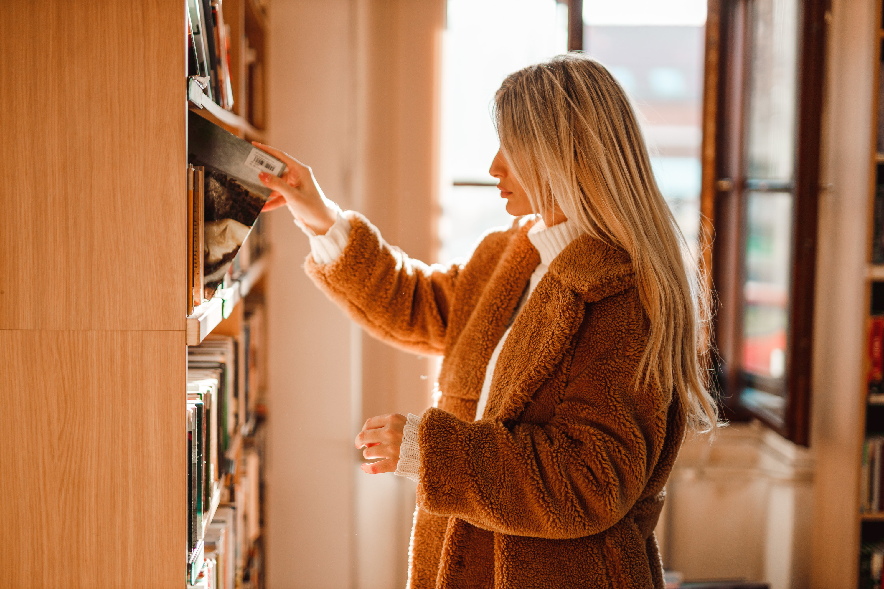 A woman at the library