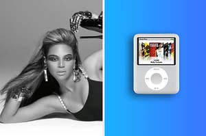 Beyonce dancing in her music video for Single Ladies next to an ipod nano