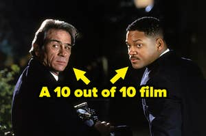 """Agent K and Agent J from """"Men in Black"""" with text reading, """"A 10 out of 10 film"""""""