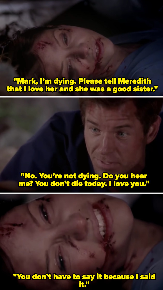 Lexi telling mark her final wishes while she's dying and Mark confessing his love for her.